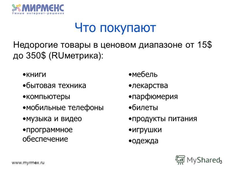 www.myrmex.ru Что покупают книги бытовая техника компьютеры мобильные телефоны музыка и видео программное обеспечение мебель лекарства парфюмерия билеты продукты питания игрушки одежда 3 Недорогие товары в ценовом диапазоне от 15$ до 350$ (RUметрика)