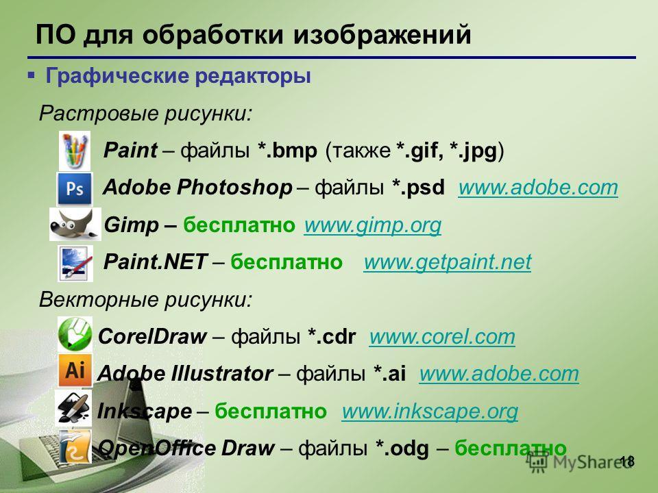18 ПО для обработки изображений Графические редакторы Растровые рисунки: Paint – файлы *.bmp (также *.gif, *.jpg) Adobe Photoshop – файлы *.psd www.adobe.comwww.adobe.com Gimp – бесплатно www.gimp.orgwww.gimp.org Paint.NET – бесплатно www.getpaint.ne