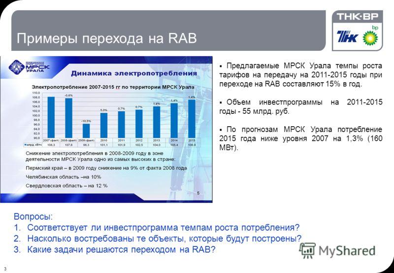 3 Примеры перехода на RAB Предлагаемые МРСК Урала темпы роста тарифов на передачу на 2011-2015 годы при переходе на RAB составляют 15% в год. Объем инвестпрограммы на 2011-2015 годы - 55 млрд. руб. По прогнозам МРСК Урала потребление 2015 года ниже у