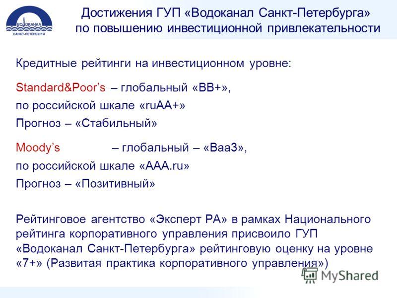 Достижения ГУП «Водоканал Санкт-Петербурга» по повышению инвестиционной привлекательности Кредитные рейтинги на инвестиционном уровне: Standard&Poors – глобальный «ВВ+», по российской шкале «ruАА+» Прогноз – «Стабильный» Moodys – глобальный – «Ваа3»,