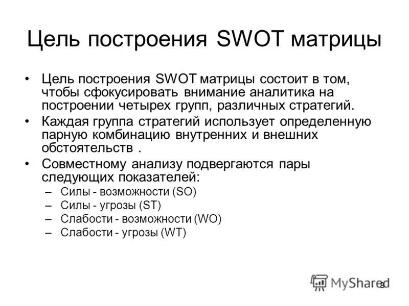 8 Цель построения SWOT матрицы Цель построения SWOT матрицы состоит в том, чтобы сфокусировать внимание аналитика на построении четырех групп, различных стратегий. Каждая группа стратегий использует определенную парную комбинацию внутренних и внешних