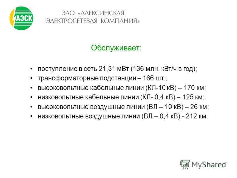 Обслуживает: поступление в сеть 21,31 мВт (136 млн. кВт/ч в год); трансформаторные подстанции – 166 шт.; высоковольтные кабельные линии (КЛ-10 кВ) – 170 км; низковольтные кабельные линии (КЛ- 0,4 кВ) – 125 км; высоковольтные воздушные линии (ВЛ – 10