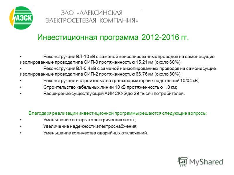 Инвестиционная программа 2012-2016 гг. Реконструкция ВЛ-10 кВ с заменой неизолированных проводов на самонесущие изолированные провода типа СИП-3 протяженностью 15,21 км (около 60%); Реконструкция ВЛ-0,4 кВ с заменой неизолированных проводов на самоне