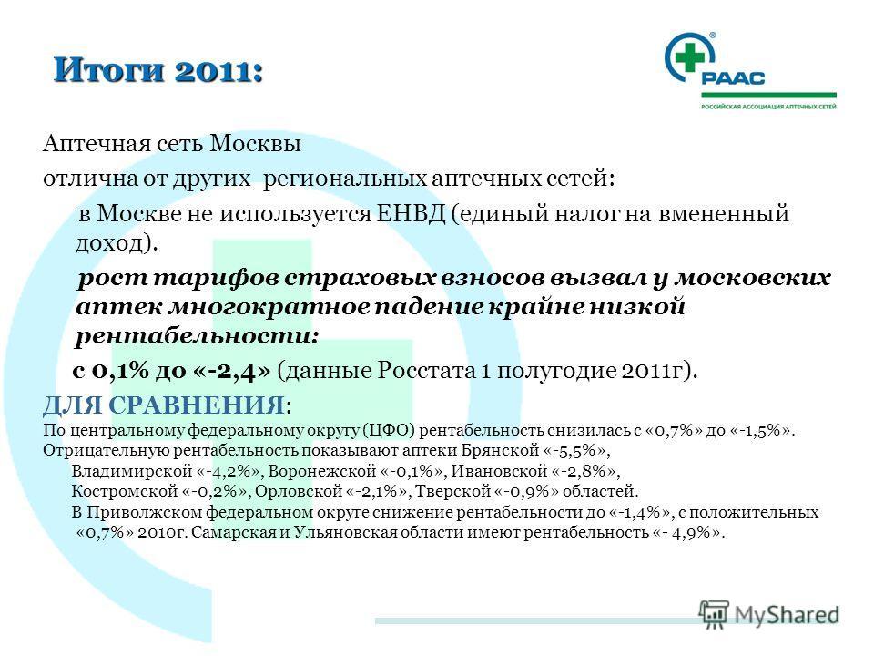 Итоги 2011: Аптечная сеть Москвы отлична от других региональных аптечных сетей: в Москве не используется ЕНВД (единый налог на вмененный доход). рост тарифов страховых взносов вызвал у московских аптек многократное падение крайне низкой рентабельност