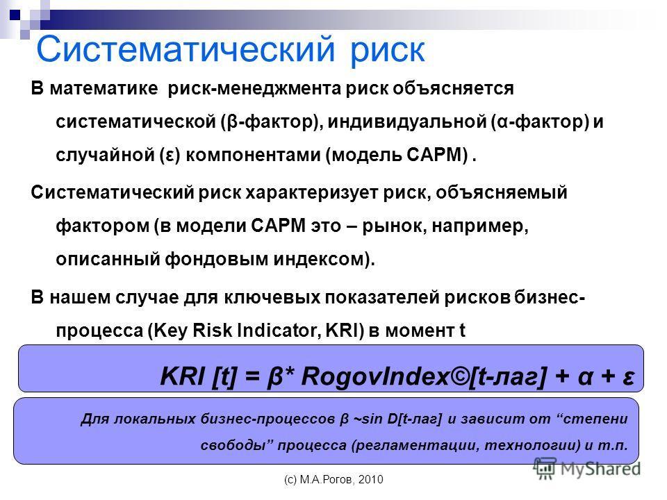 Систематический риск В математике риск-менеджмента риск объясняется систематической (β-фактор), индивидуальной (α-фактор) и случайной (ε) компонентами (модель CAPM). Систематический риск характеризует риск, объясняемый фактором (в модели CAPM это – р