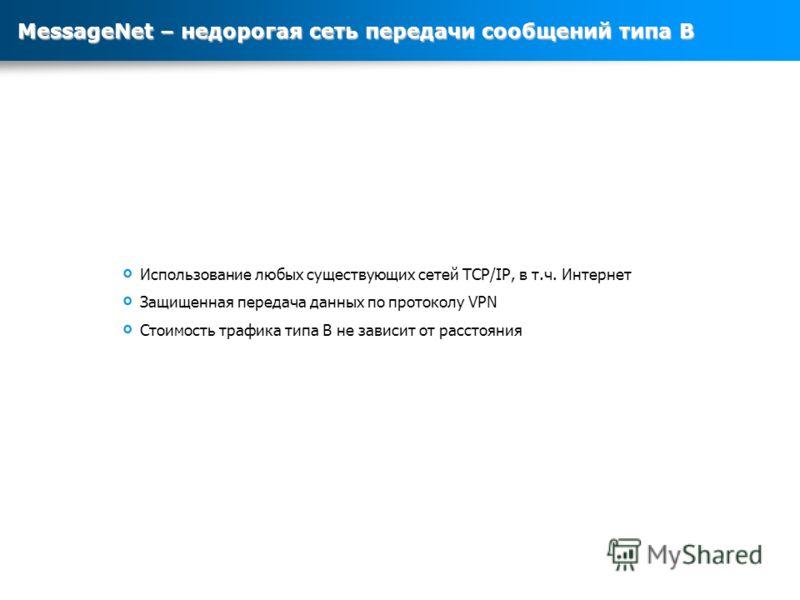 Использование любых существующих сетей TCP/IP, в т.ч. Интернет Защищенная передача данных по протоколу VPN Стоимость трафика типа В не зависит от расстояния MessageNet – недорогая сеть передачи сообщений типа B