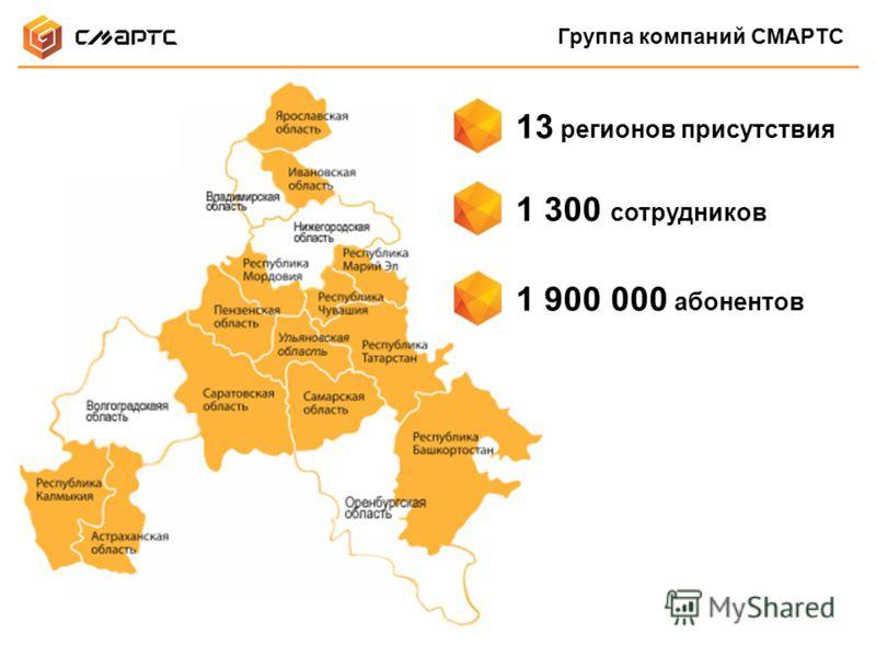 Группа компаний СМАРТС 1 900 000 абонентов 1 300 сотрудников 13 регионов присутствия