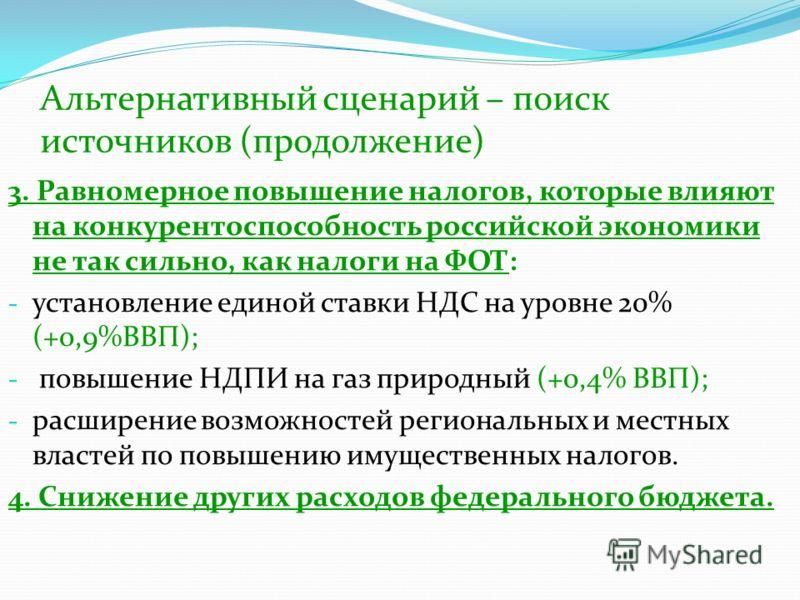 Альтернативный сценарий – поиск источников (продолжение) 3. Равномерное повышение налогов, которые влияют на конкурентоспособность российской экономики не так сильно, как налоги на ФОТ: - установление единой ставки НДС на уровне 20% (+0,9%ВВП); - пов