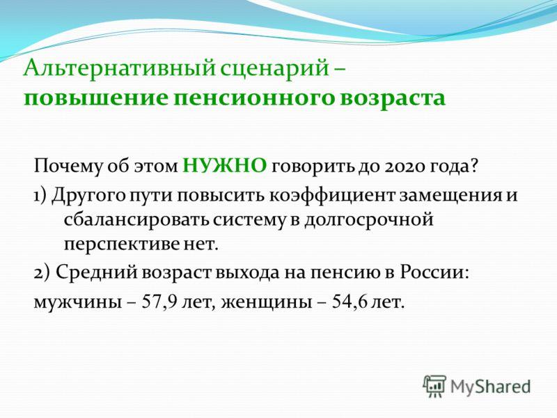 Альтернативный сценарий – повышение пенсионного возраста Почему об этом НУЖНО говорить до 2020 года? 1) Другого пути повысить коэффициент замещения и сбалансировать систему в долгосрочной перспективе нет. 2) Средний возраст выхода на пенсию в России: