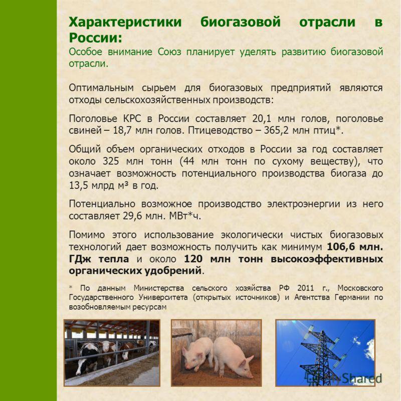 Характеристики биогазовой отрасли в России: Особое внимание Союз планирует уделять развитию биогазовой отрасли. Оптимальным сырьем для биогазовых предприятий являются отходы сельскохозяйственных производств: Поголовье КРС в России составляет 20,1 млн