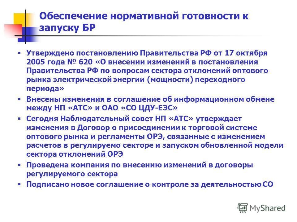Утверждено постановлению Правительства РФ от 17 октября 2005 года 620 «О внесении изменений в постановления Правительства РФ по вопросам сектора отклонений оптового рынка электрической энергии (мощности) переходного периода» Внесены изменения в согла