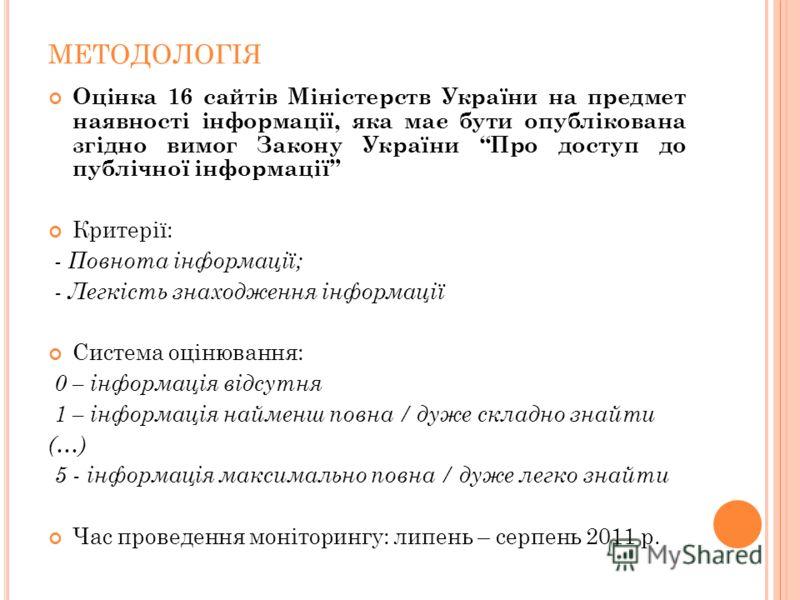 МЕТОДОЛОГІЯ Оцінка 16 сайтів Міністерств України на предмет наявності інформації, яка має бути опублікована згідно вимог Закону України Про доступ до публічної інформації Критерії: - Повнота інформації; - Легкість знаходження інформації Система оціню