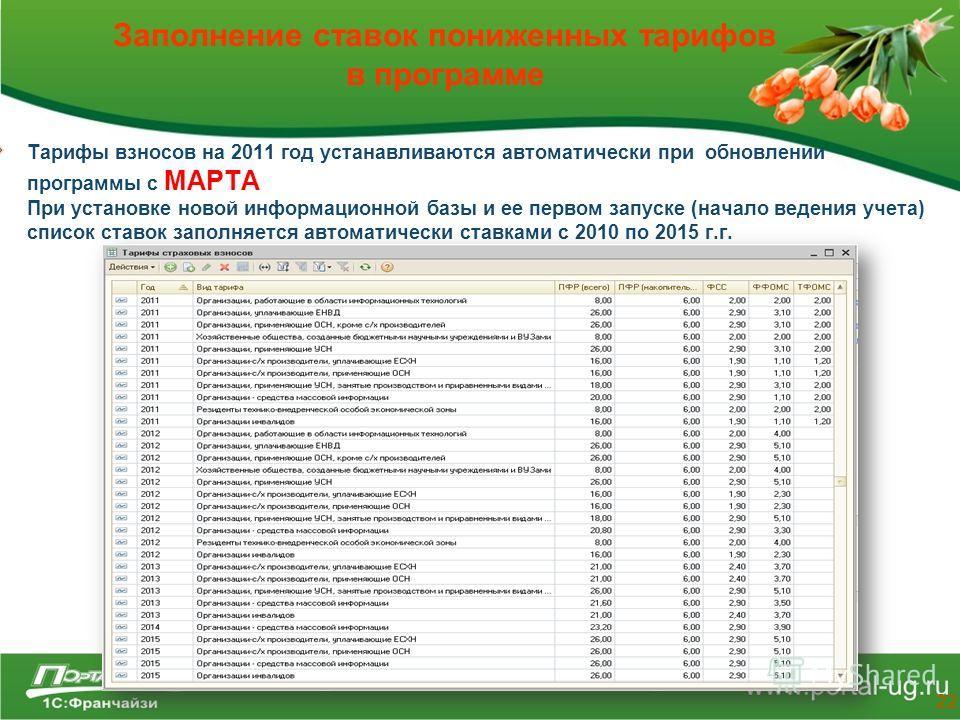 Заполнение ставок пониженных тарифов в программе Тарифы взносов на 2011 год устанавливаются автоматически при обновлении программы с МАРТА При установке новой информационной базы и ее первом запуске (начало ведения учета) список ставок заполняется ав