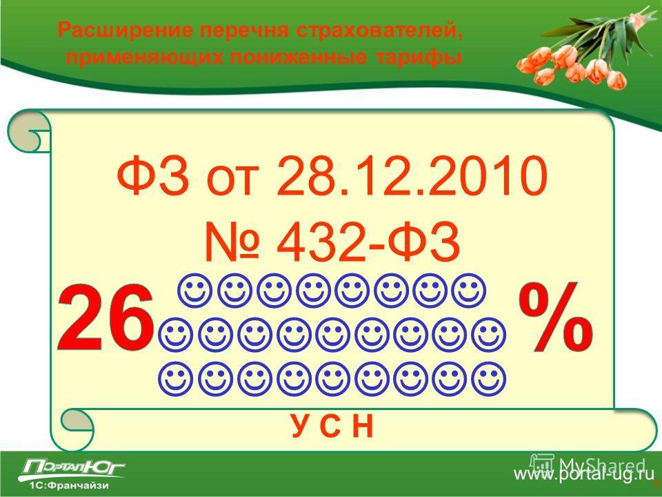 Расширение перечня страхователей, применяющих пониженные тарифы 5 ФЗ от 28.12.2010 432-ФЗ У С Н