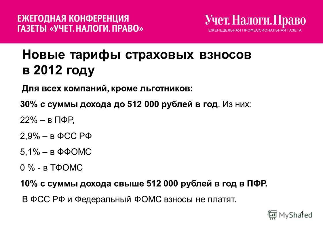 4 Новые тарифы страховых взносов в 2012 году Для всех компаний, кроме льготников: 30% с суммы дохода до 512 000 рублей в год. Из них: 22% – в ПФР, 2,9% – в ФСС РФ 5,1% – в ФФОМС 0 % - в ТФОМС 10% с суммы дохода свыше 512 000 рублей в год в ПФР. В ФСС