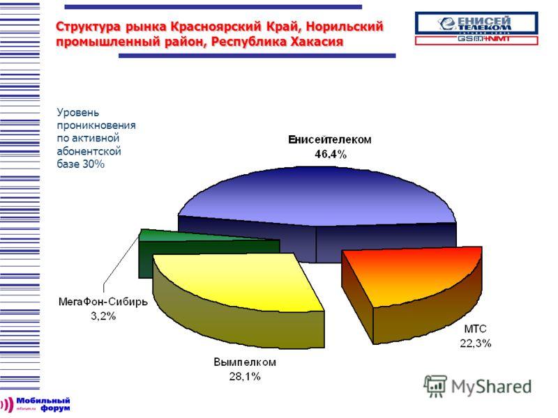 Структура рынка Красноярский Край, Норильский промышленный район, Республика Хакасия Уровень проникновения по активной абонентской базе 30%