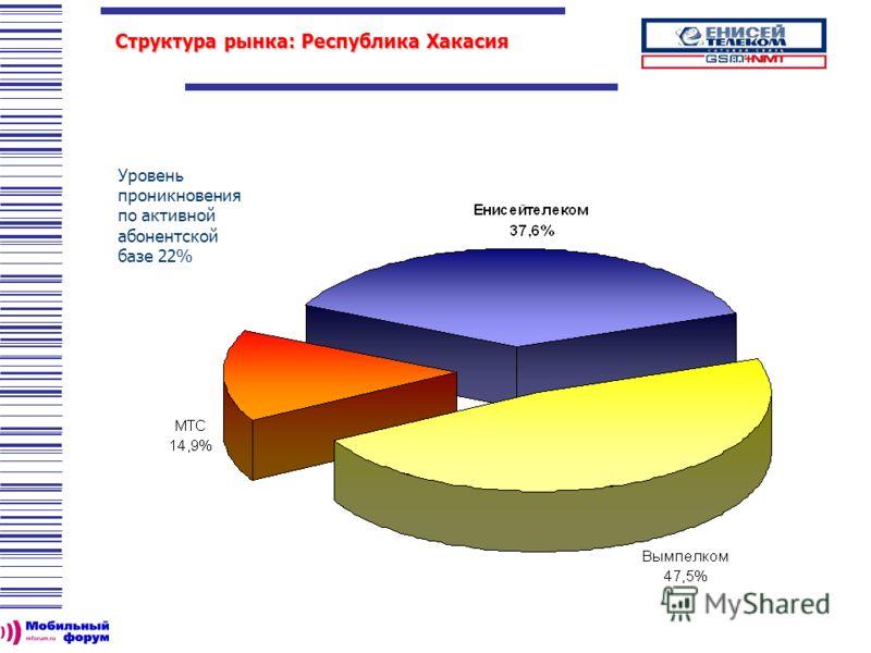 Уровень проникновения по активной абонентской базе 22% Структура рынка: Республика Хакасия