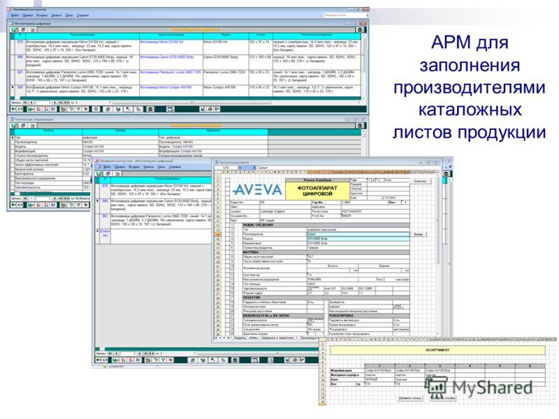 АРМ для заполнения производителями каталожных листов продукции