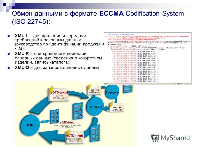 Обмен данными в формате ECCMA Codification System (ISO 22745): XML I – для хранения и передачи требований к основным данным (руководство по идентификации продукции - IG); XML R – для хранения и передачи основных данных (сведения о конкретном изделии,