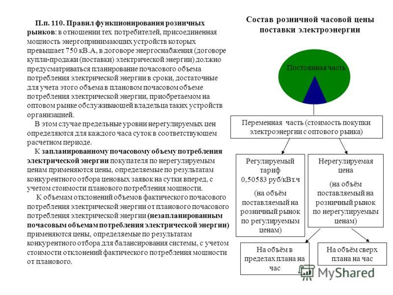 Переменная часть (стоимость покупки электроэнергии с оптового рынка) Регулируемый тариф 0,50583 руб/кВт.ч (на объём поставляемый на розничный рынок по регулируемым ценам) Нерегулируемая цена (на объём поставляемый на розничный рынок по нерегулируемым