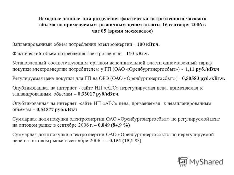 Исходные данные для разделения фактически потребленного часового объёма по применяемым розничным ценам оплаты 16 сентября 2006 в час 05 (время московское) Запланированный объем потребления электроэнергии - 100 кВт.ч. Фактический объем потребления эле