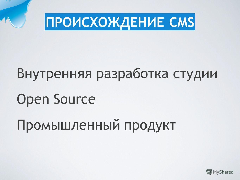 Внутренняя разработка студии Open Source Промышленный продукт ПРОИСХОЖДЕНИЕ CMS