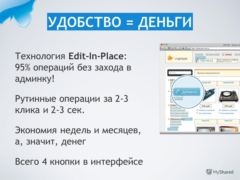 Технология Edit-In-Place: 95% операций без захода в админку! Рутинные операции за 2-3 клика и 2-3 сек. Экономия недель и месяцев, а, значит, денег Всего 4 кнопки в интерфейсе УДОБСТВО = ДЕНЬГИ