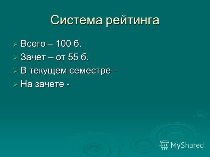 Система рейтинга Всего – 100 б. Всего – 100 б. Зачет – от 55 б. Зачет – от 55 б. В текущем семестре – В текущем семестре – На зачете - На зачете -