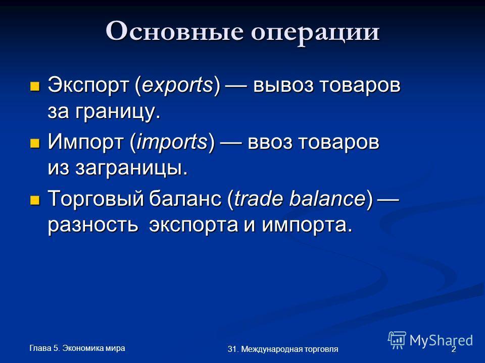 Глава 5. Экономика мира 2 31. Международная торговля Основные операции Экспорт (exports) вывоз товаров за границу. Экспорт (exports) вывоз товаров за границу. Импорт (imports) ввоз товаров из заграницы. Импорт (imports) ввоз товаров из заграницы. Тор