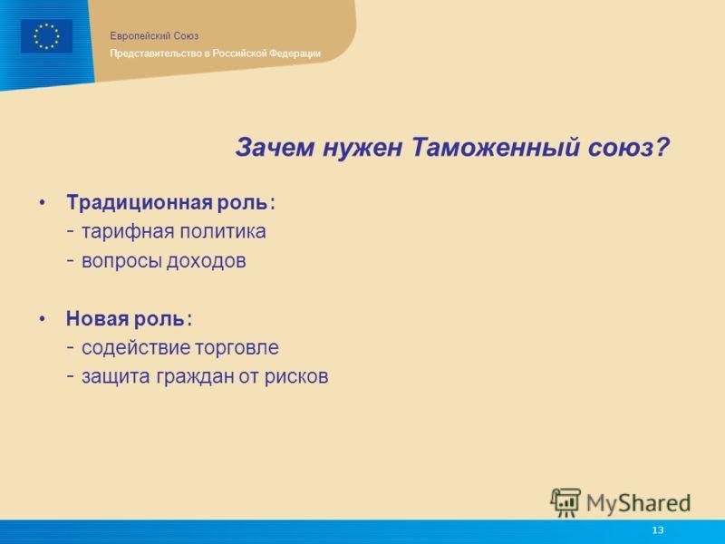 Европейский Союз Представительство в Российской Федерации 13 Зачем нужен Таможенный союз? Традиционная роль : - тарифная политика - вопросы доходов Новая роль : - содействие торговле - защита граждан от рисков