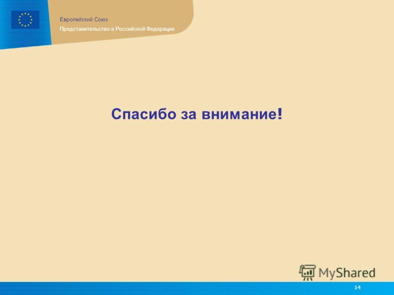 Европейский Союз Представительство в Российской Федерации 14 Спасибо за внимание !