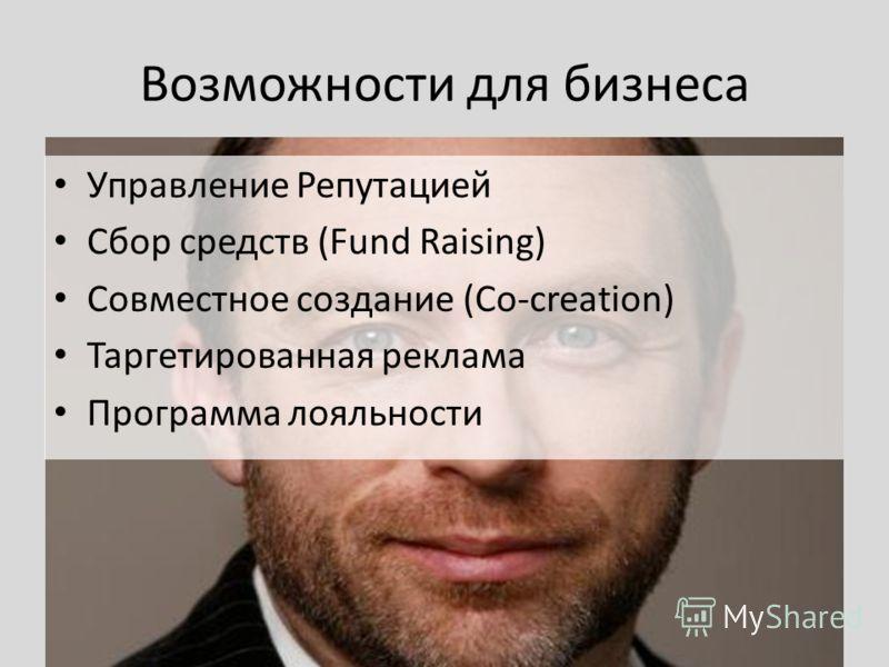 Возможности для бизнеса Управление Репутацией Сбор средств (Fund Raising) Совместное создание (Co-creation) Таргетированная реклама Программа лояльности