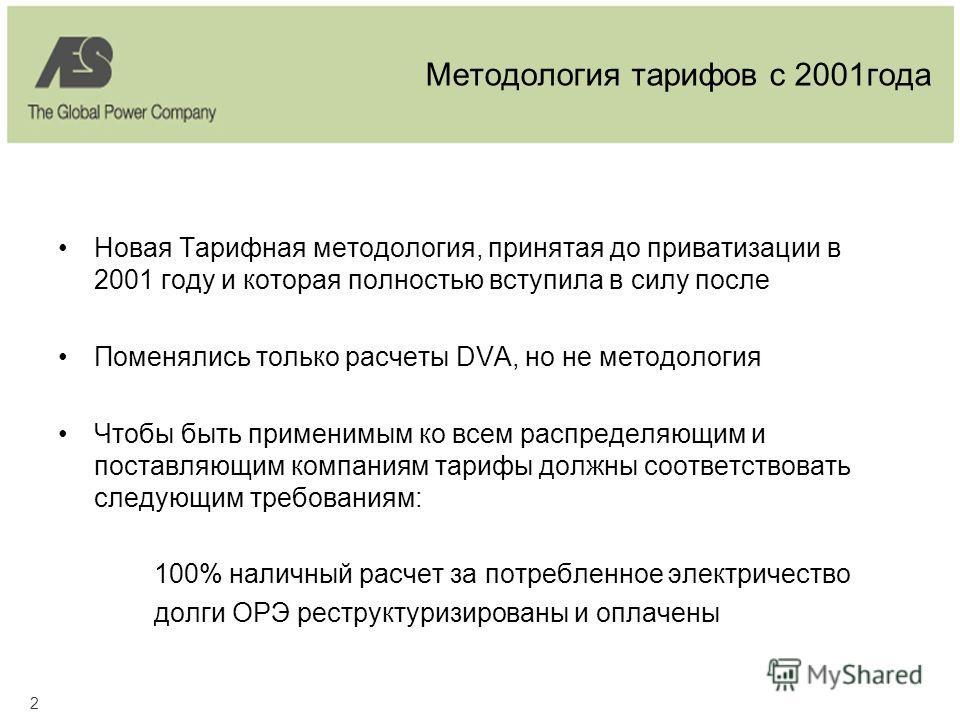 2 Методология тарифов с 2001года Новая Тарифная методология, принятая до приватизации в 2001 году и которая полностью вступила в силу после Поменялись только расчеты DVA, но не методология Чтобы быть применимым ко всем распределяющим и поставляющим к