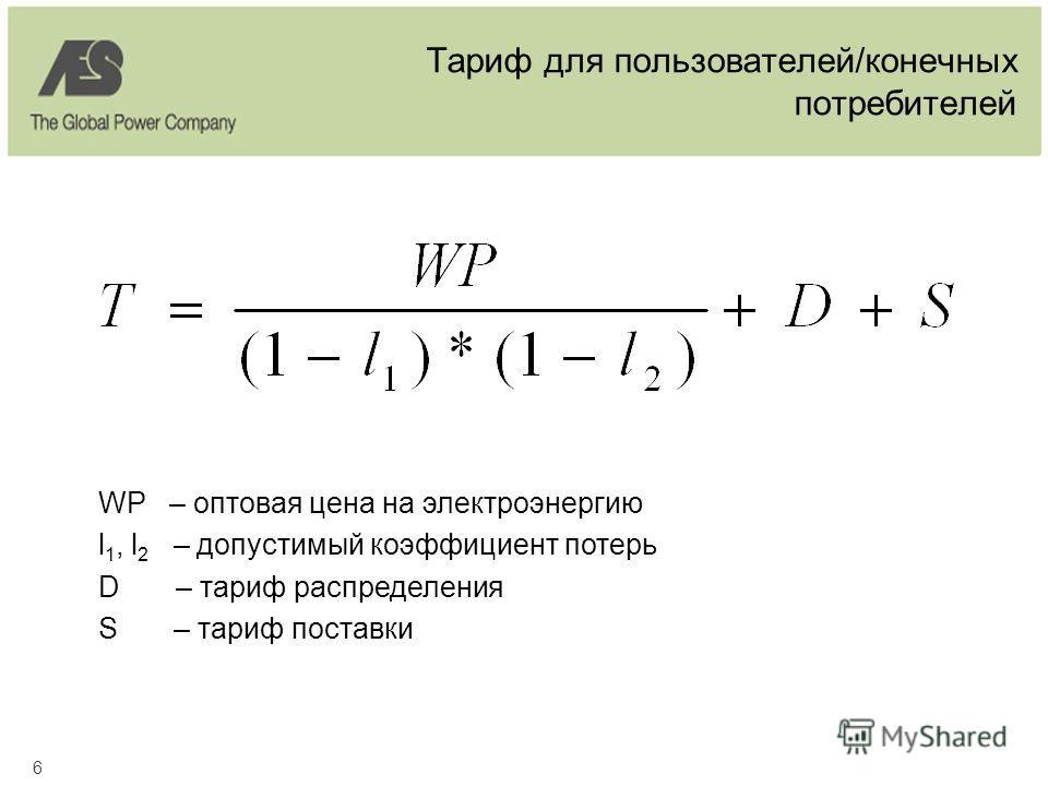 6 Тариф для пользователей/конечных потребителей WP – оптовая цена на электроэнергию l 1, l 2 – допустимый коэффициент потерь D – тариф распределения S – тариф поставки