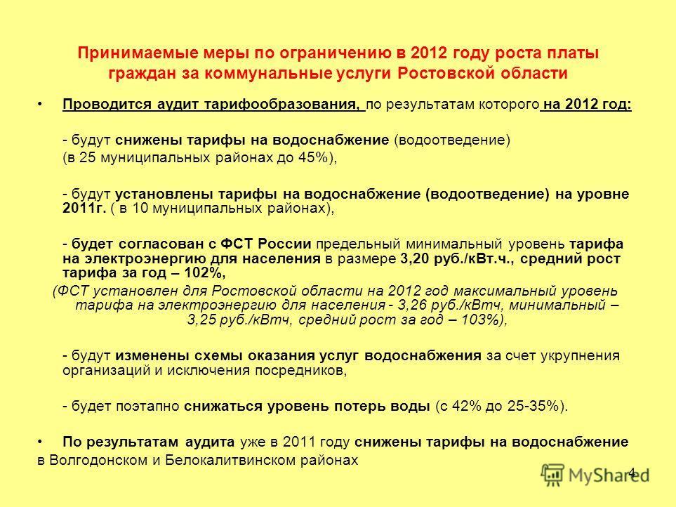 4 Принимаемые меры по ограничению в 2012 году роста платы граждан за коммунальные услуги Ростовской области Проводится аудит тарифообразования, по результатам которого на 2012 год: - будут снижены тарифы на водоснабжение (водоотведение) (в 25 муницип