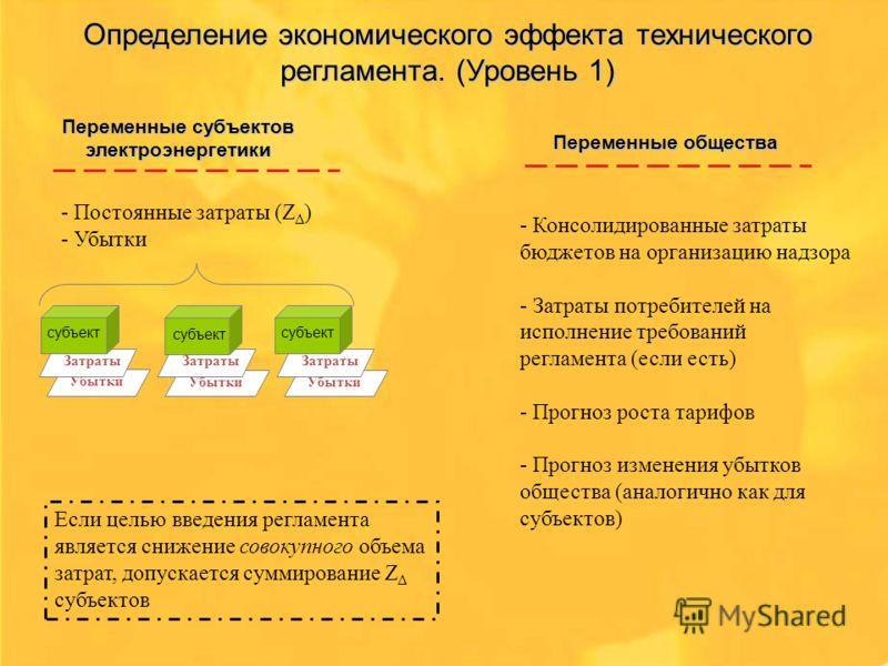 Определение экономического эффекта технического регламента. (Уровень 1) - Постоянные затраты (Z Δ ) - Убытки - Консолидированные затраты бюджетов на организацию надзора - Затраты потребителей на исполнение требований регламента (если есть) - Прогноз