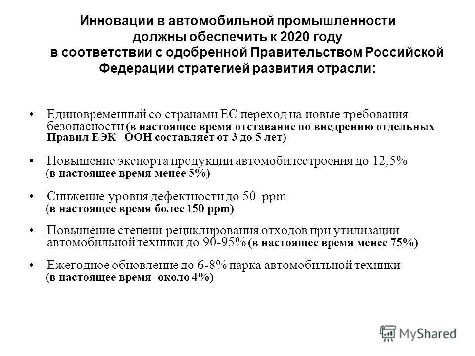 Инновации в автомобильной промышленности должны обеспечить к 2020 году в соответствии с одобренной Правительством Российской Федерации стратегией развития отрасли: Единовременный со странами ЕС переход на новые требования безопасности (в настоящее вр