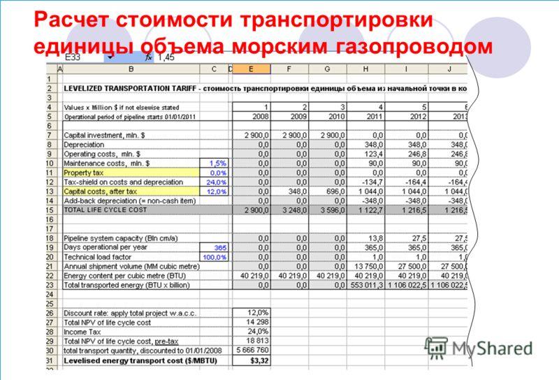 Расчет стоимости транспортировки единицы объема морским газопроводом