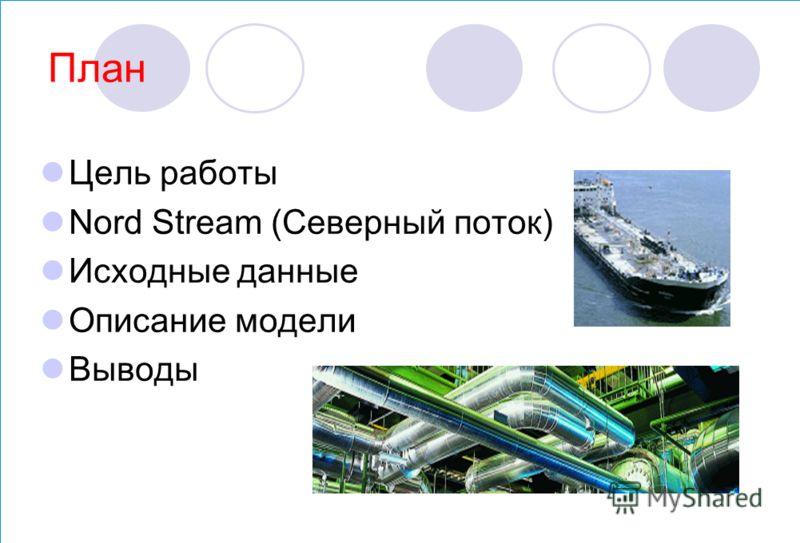 План Цель работы Nord Stream (Северный поток) Исходные данные Описание модели Выводы