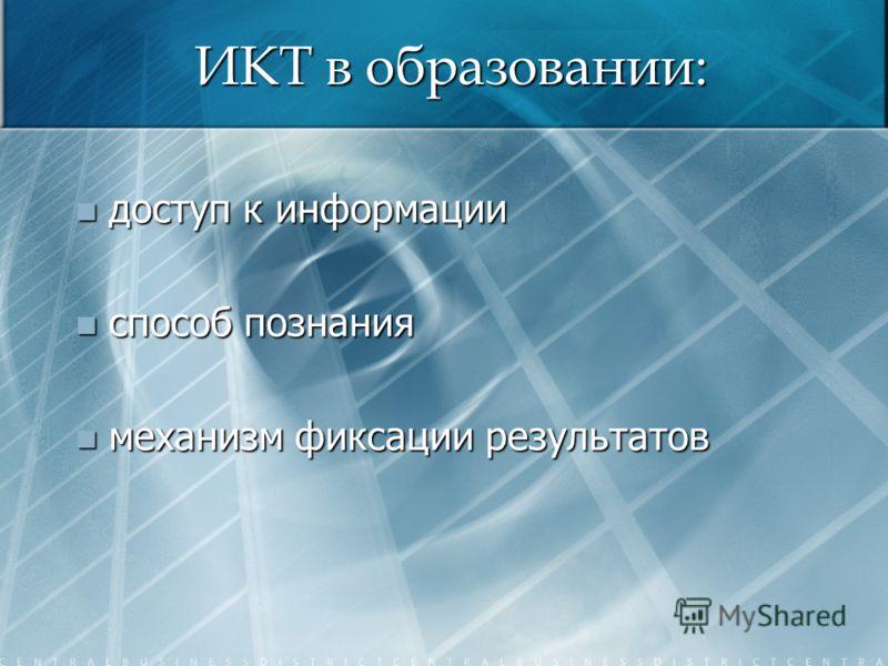 ИКТ в образовании: доступ к информации доступ к информации способ познания способ познания механизм фиксации результатов механизм фиксации результатов