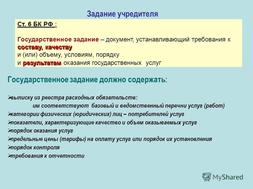 Задание учредителя Ст. 6 БК РФ : Государственное задание – документ, устанавливающий требования к составу, качеству и (или) объему, условиям, порядку результатам и результатам оказания государственных услуг Государственное задание должно содержать :