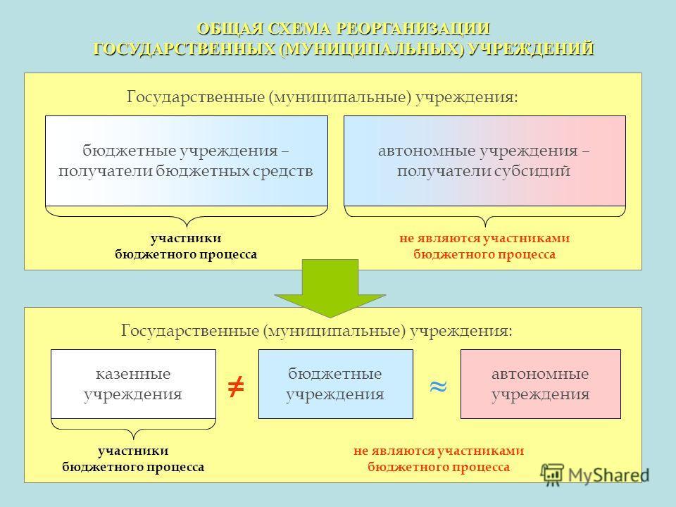 Типы муниципальных учреждений схема