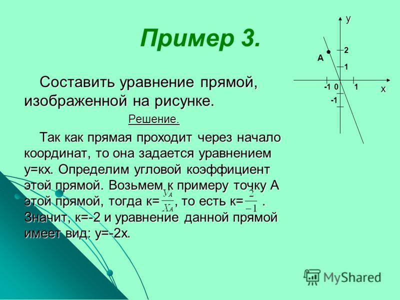 Пример 3. Составить уравнение прямой, изображенной на рисунке. Решение. Решение. Так как прямая проходит через начало координат, то она задается уравнением у=кх. Определим угловой коэффициент этой прямой. Возьмем к примеру точку А этой прямой, тогда