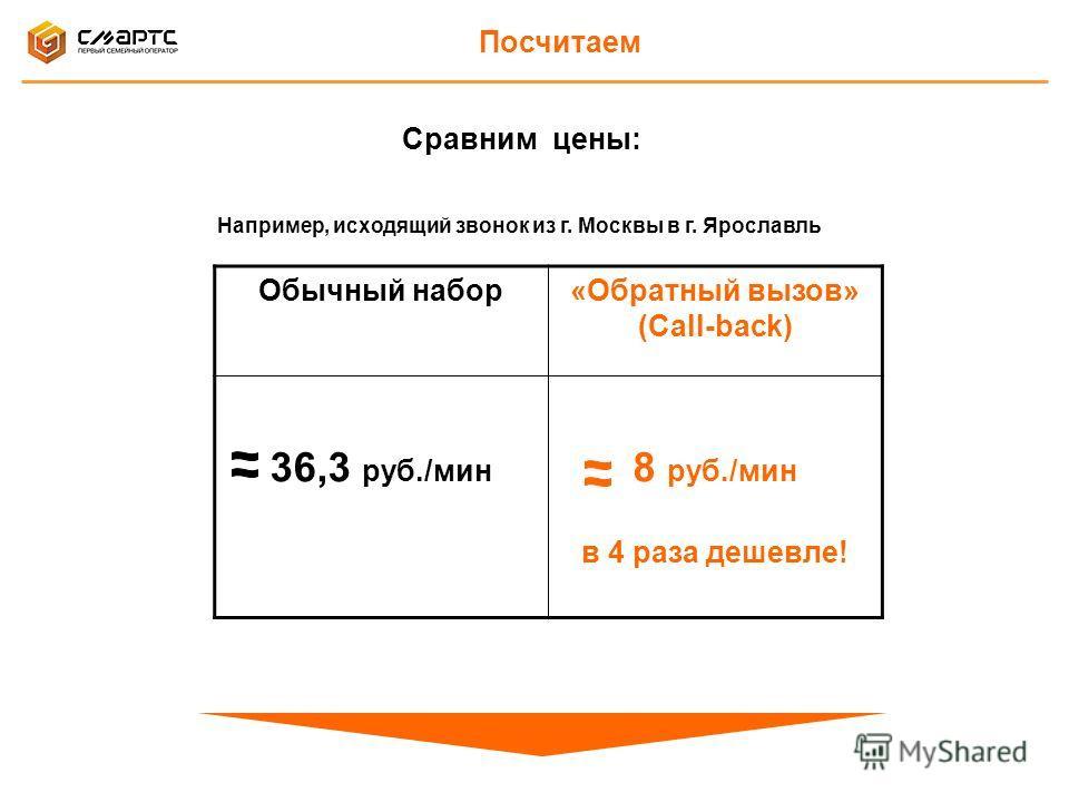 Посчитаем Обычный набор«Обратный вызов» (Call-back) 36,3 руб./мин 8 руб./мин в 4 раза дешевле! Сравним цены: Например, исходящий звонок из г. Москвы в г. Ярославль