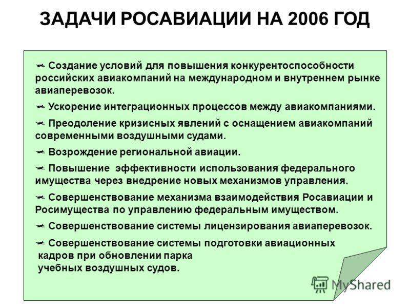 ЗАДАЧИ РОСАВИАЦИИ НА 2006 ГОД Создание условий для повышения конкурентоспособности российских авиакомпаний на международном и внутреннем рынке авиаперевозок. Ускорение интеграционных процессов между авиакомпаниями. Преодоление кризисных явлений с осн