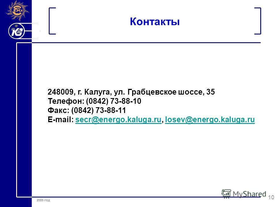 2005 год 10 Контакты 248009, г. Калуга, ул. Грабцевское шоссе, 35 Телефон: (0842) 73-88-10 Факс: (0842) 73-88-11 E-mail: secr@energo.kaluga.ru, losev@energo.kaluga.rusecr@energo.kaluga.rulosev@energo.kaluga.ru