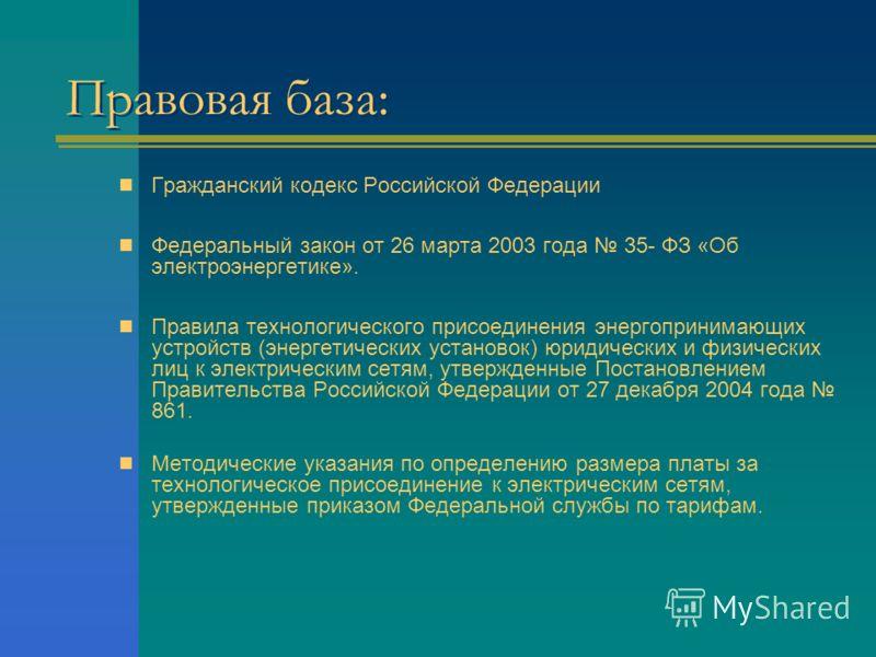 Правовая база: Гражданский кодекс Российской Федерации Федеральный закон от 26 марта 2003 года 35- ФЗ «Об электроэнергетике». Правила технологического присоединения энергопринимающих устройств (энергетических установок) юридических и физических лиц к