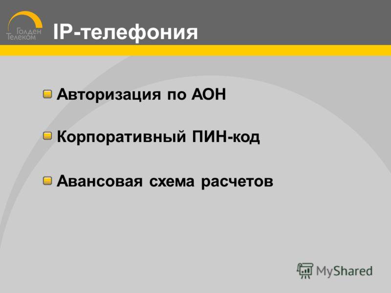 Авторизация по АОН Корпоративный ПИН-код Авансовая схема расчетов IP-телефония