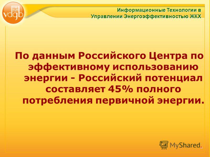 4 По данным Российского Центра по эффективному использованию энергии - Российский потенциал составляет 45% полного потребления первичной энергии. Информационные Технологии в Управлении Энергоэффективностью ЖКХ