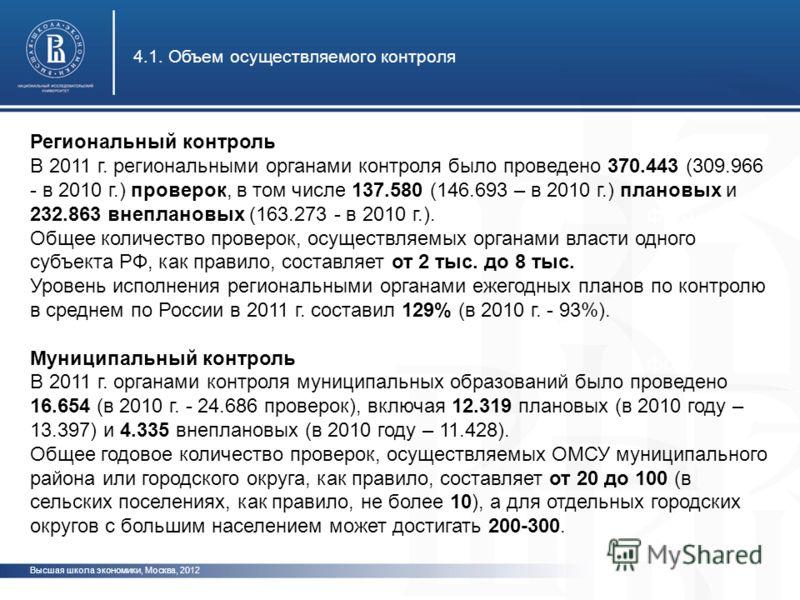 Высшая школа экономики, Москва, 2012 4.1. Объем осуществляемого контроля фото Региональный контроль В 2011 г. региональными органами контроля было проведено 370.443 (309.966 - в 2010 г.) проверок, в том числе 137.580 (146.693 – в 2010 г.) плановых и